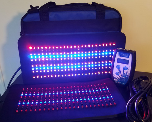 """The Lumen 528™ has 2 of the 264 pads which allows treatment on separate areas simultaneously. Each neoprene 264 pad measures 7 1/2"""" X 14 1/2"""" .  The 3Light 264 Pad is a combination pad with Red, Blue and Infrared LEDs and comes in a padded canvas case."""
