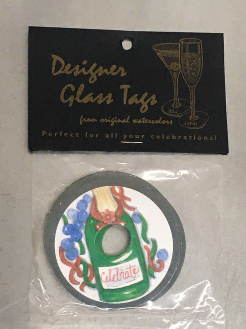 Wine Glass tags Champagne bottle - for New Years Eve, Celebrations, etc - pk24