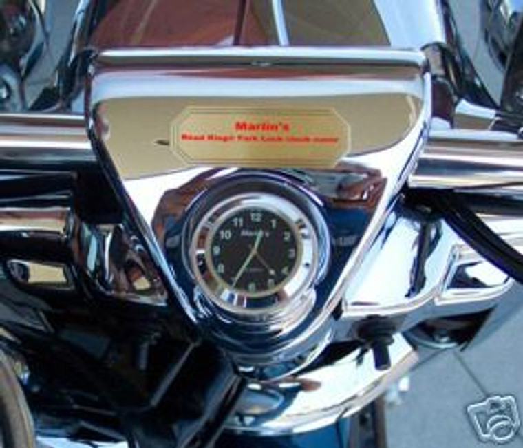 Marlin's Chrome or Black Swivel Fork Lock Key Cover for Harley Davidson Road King Motorcycle with Clock or Thermometer