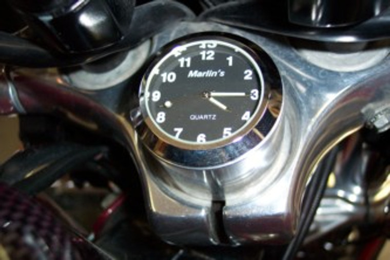 Marlin's FSBC1 Billet Fork Stem Nut Cover Mount For Pre 2010 Sportsters® - Pre '06 Dynas®  Motorcycle Clock or Thermometer