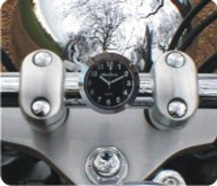 Marlin's Chrome or Black Talon Motorcycle Handlebar Mount  with Clock or Thermometer