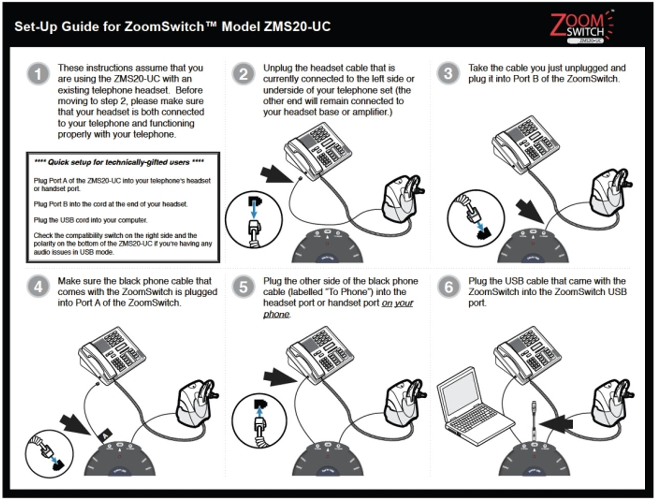 ZMS20-UC ZoomSwitch USB HeadsetUse Your Phone Headset on Your Computer