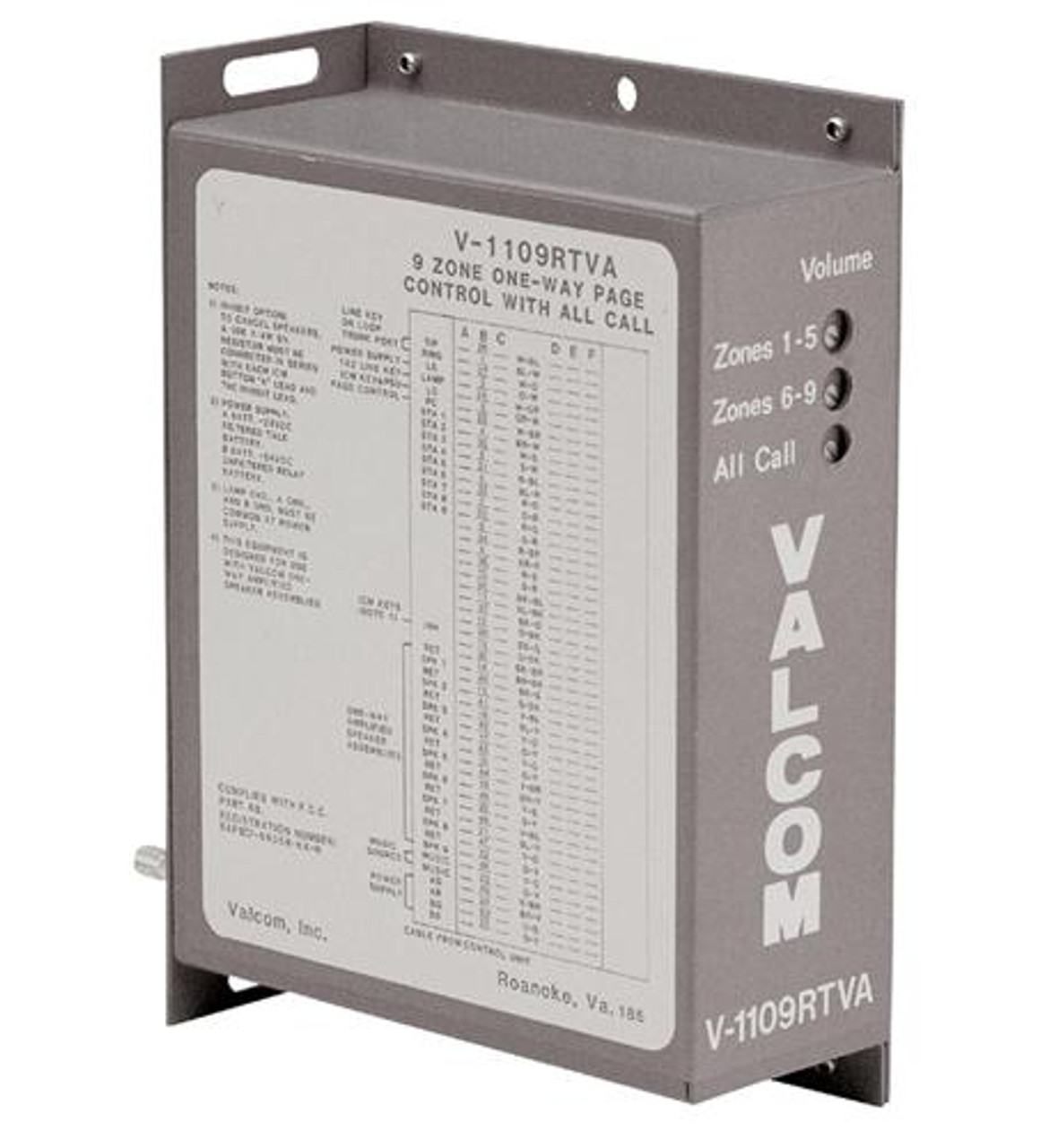 Valcom V1109RTVA 9 Zone One Way Paging Controller on bogen paging systems, industrial paging systems, cisco phones systems,