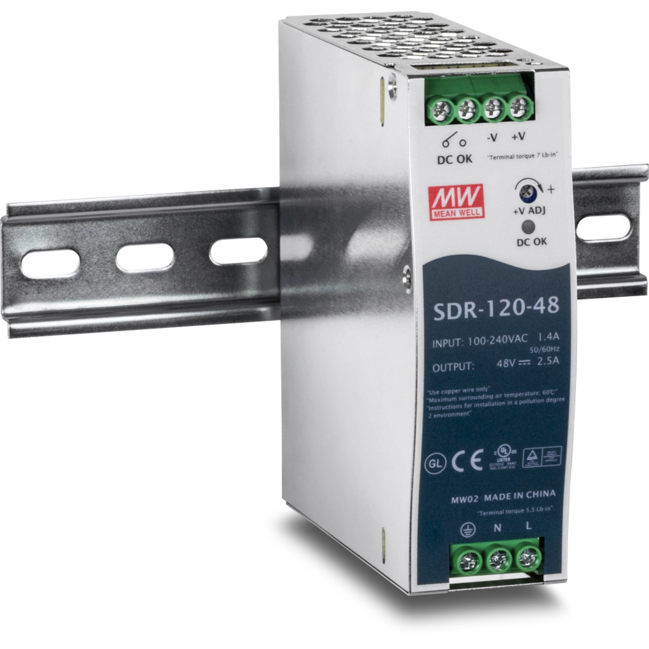 24 Volts 5 Amps 120 Watts Single Output Industrial DIN Rail Power Supply