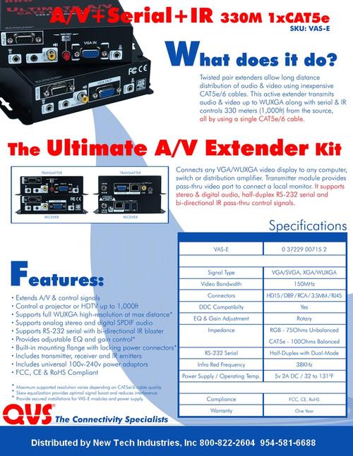 VGA plus Audio, RS232 and IR Extender Kit 1000'