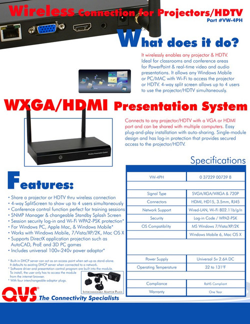 HDMI and VGA Wireless Presentation Gateway Server with Audio
