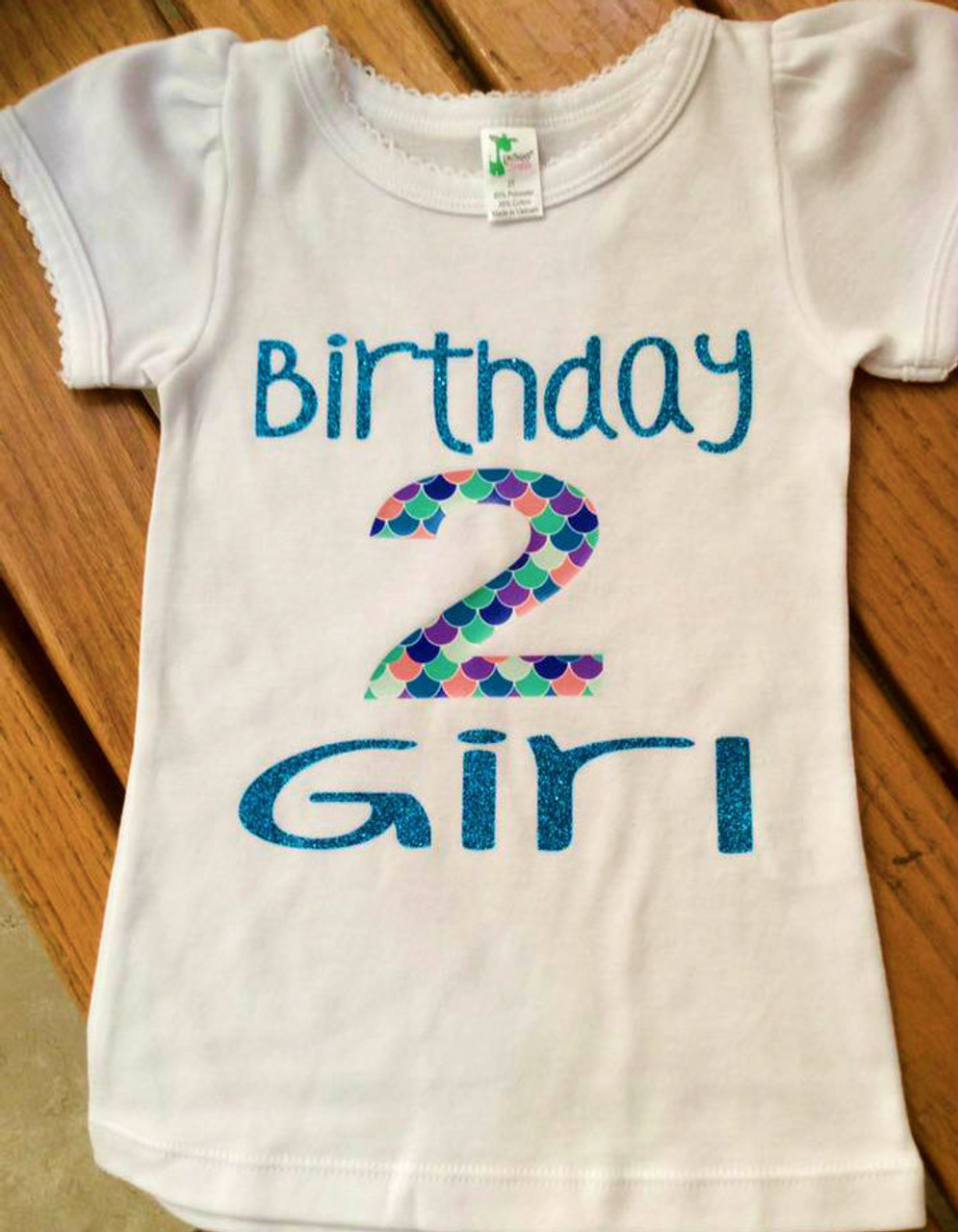 Girls Birthday Mermaid Scale Girl Shirt Second Third Fourth Fifth