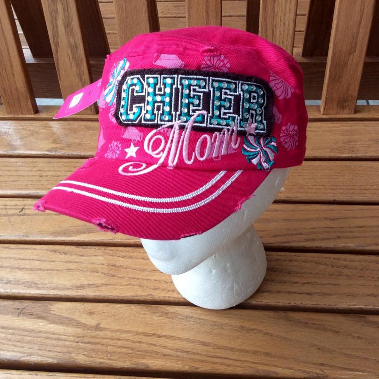 98261b2e870489 Women's Pink Turquoise Cheer Mom Baseball Cap, Women's Baseball Cap, Cheer  Mom Hat,