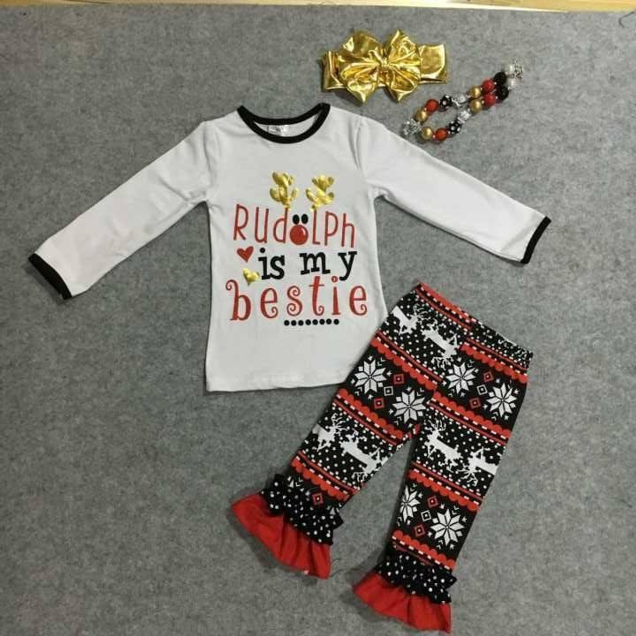 Rudolph Is My Bestie Boutique Outfit Girls Christmas Outfit