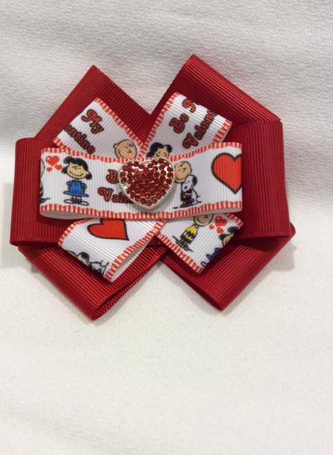 Charlie Brown Be My Valentine Six Loop Hair Bow, Hair Bow, Charlie Brown Hair Bow, Valentine's Day Hair Bow, Hair Ribbons, Hair Accessories