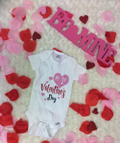Newborn Infant Girls Red Black Pink My First Valentines Day Onesie
