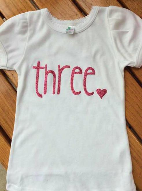 Girls Third Birthday Shirt, Girls Third Birthday Glitter Pink Three with heart shirt, Birthday Shirt,  Three Shirt, Girls Third Birthday Outfit, Pink Three Shirt
