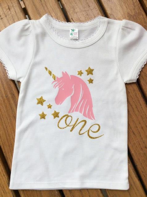 Girls First Birthday Unicorn With One Shirt Pink And Gold Mint