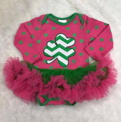 St. Patrick's Day Infant Girl's Pink Green Polka Dot Chevron Clover Bodysuit with Tutu, Infant St. Patty's Day Outfit, Infant St. Paddy's Day Outfit, Infant St. Patrick's Day Outfit, Girl's St. Patty's Day Outfit, Girl's St. Patrick's Day Outfit