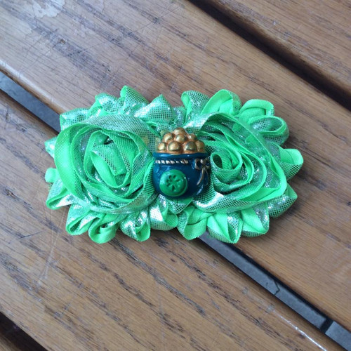 St. Patrick's Day Metallic Pot of Gold Shabby Floral Hair Clip, St. Patrick's Day Flower Hair Clip, St. Patty's Day Floral Hair Clip, St. Paddy's Day Floral Hair Clip, Pot of Gold