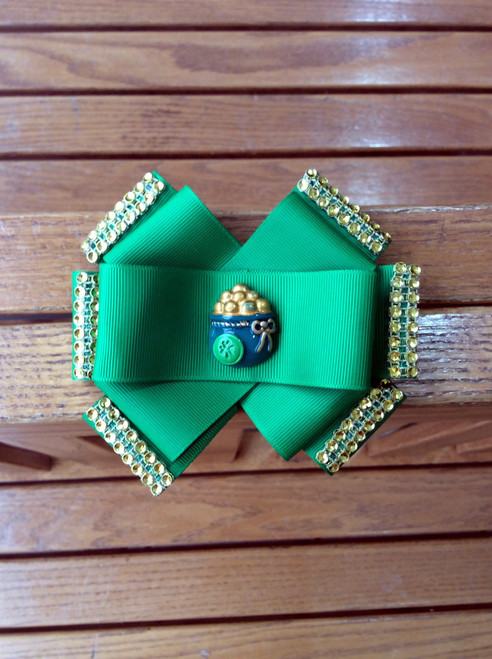 St. Patrick's Day Green with Gold Rhinestones Pot of Gold Six Loop Hair Bow, St. Patrick's Day Hair Bow, St. Patty's Day Hair Bow, Green Hair Bow, Pot of Gold