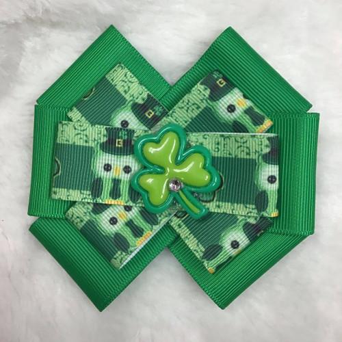 St. Patrick's Day Owl Clover Six Loop Hair Bow, St. Patrick's Day Hair Bow, St. Patty's Day Hair Bow, Owl Hair Bow, Green Hair Bow