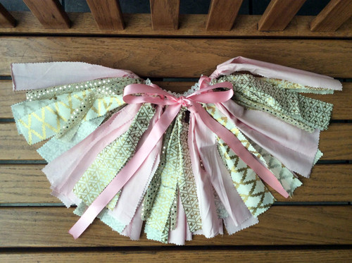 Pink and Gold Fabric Strip Shabby Tutu, Pink and Gold Tutu, Rag  Tutu, Fabric Tutu, Birthday Tutu, Toddler Tutu, Fabric Strips Tutu, Shabby Tutu