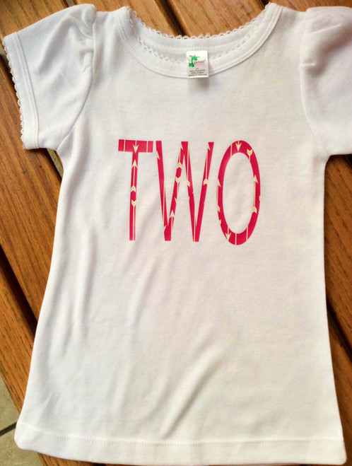 Girls Pink (Red/Coral)/Gold TWO Second Birthday Shirt, Second Birthday Shirt, Girl's Birthday Shirt, Birthday Shirt, TWO Birthday Shirt