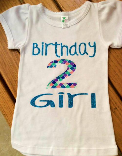 Girls Birthday Mermaid Scale Birthday Girl Shirt, Birthday Shirt, Girls Birthday Shirt, Second Birthday, Third Birthday, Fourth Birthday, Fifth Birthday, Sixth Birthday, Mermaid Birthday
