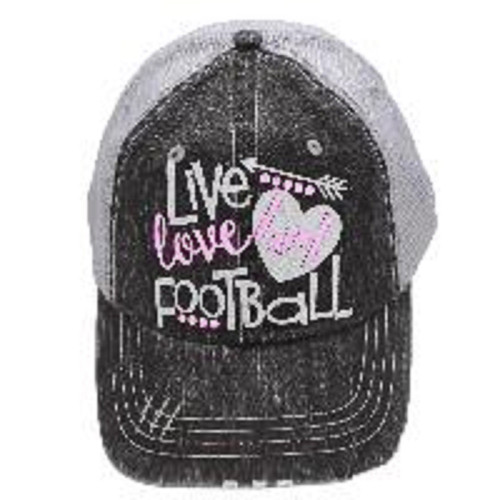 Women's Grey White Pink Live Love Football Baseball Cap, Women's Baseball Cap, Women's Hat, Football Hat, Football Mom