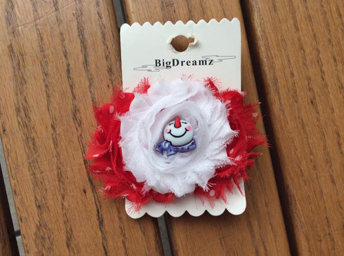 Red White Polka Dot Shabby Floral Snowman Christmas Hair Clip, Christmas Hair Bow, Snowman Hair Bow, Christmas Floral Hair Clip, Christmas Hair Accessories, Christmas Hair Ribbons
