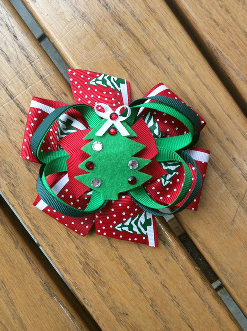 Christmas Tree Stacked Boutique Hair Bow, Christmas Hair Bow, Christmas Tree Bow, Christmas Hair Accessories, Christmas Hair Ribbons
