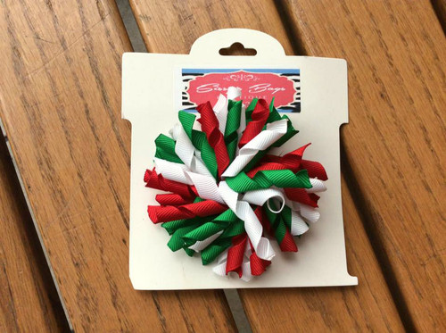 Red White Green Korker Christmas Hair Bow, Christmas Hair Bow, Christmas Hair Ribbons, Christmas Hair Accessories, Korker Hair Bow