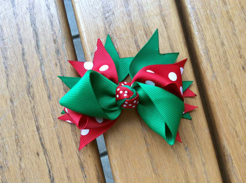 Green Red White Polka Dot Double Knot Christmas Hair Bow, Christmas Hair Bow, Christmas Hair Ribbon, Christmas Hair Accessories