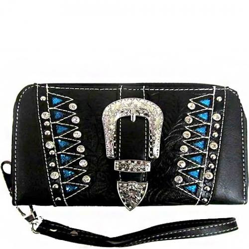 Western Buckle Wristlet Wallet-Black/Turquoise, Women's Wallet, Women's Wristlet, Black Wristlet, Western Style Wallet, Black Wallet