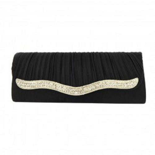 RHINESTONE DECORATED SATIN EVENING BAG-BLACK, Black Evening Bag, Black Clutch, Satin Clutch, Black Purse, Small Black Purse