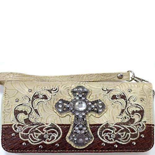 Rhinestone Cross Wristlet Wallet-Beige, Beige Cross Wallet, Beige Wallet, Cross Wallet, Beige Wristlet, Cross Wristlet, Western Style
