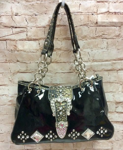 Western Style Rhinestone Studs Buckle Handbag-Black, Black Handbag, Black Purse, Western Style, Buckle Purse, Buckle Handbag