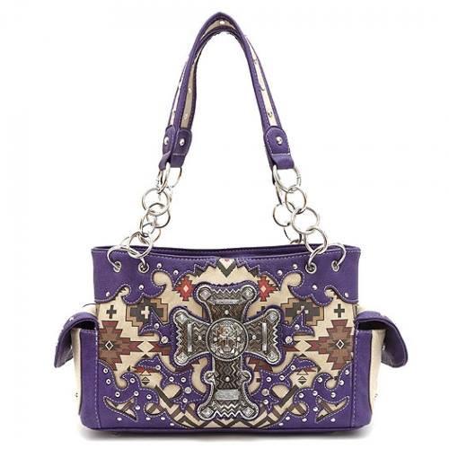 Western Style Aztec Cross Design Concealed Carry Shoulder Bag-Purple, Purple Handbag, Purple Purse, Conceal and Carry, Concealed Carry, Aztec Print, Western Style, Shoulder Bag