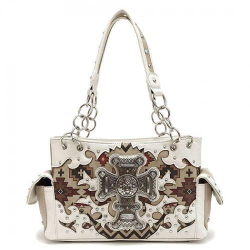 Western Style Aztec Cross Design Concealed Carry Shoulder Bag-Beige, Beige Handbag, Beige Purse, Tan Purse, Conceal and Carry, Concealed Carry, Aztec Print, Western Style, Shoulder Bag