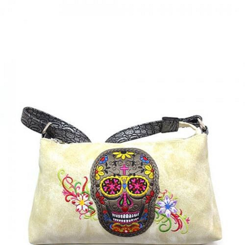 Calacas Sugar Skull Mini Hobo Messenger Crossbody Handbag-Beige, Sugar Skull Purse, Sugar Skull Handbag, Sugar Skull Messenger Bag, Sugar Skull Crossbody, Sugar Skull Hobo Bag