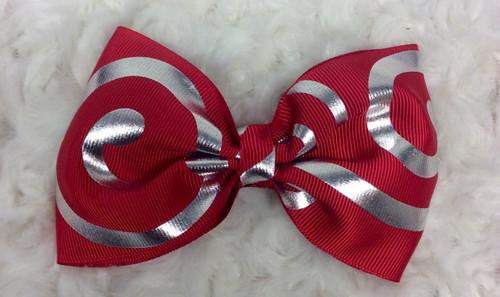 Red Silver Tuxedo Hair Bow, Tuxedo Bow, Tuxedo Hair Bow, Tailless Cheer Bow, Tailless Cheer Hair Bow, Red Hair Clip