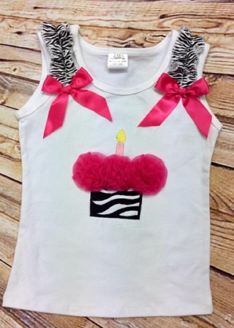 Girl's Hot Pink and Zebra Cupcake Ruffled Sleeve Birthday Tank Top, Girl's Birthday Shirt, Girl's Birthday Tank Top, Third Birthday Shirt, Fourth Birthday Shirt, Hot Pink and Zebra, Cupcake Shirt