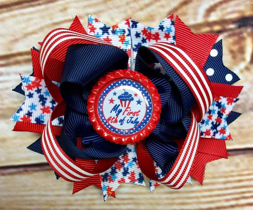 My first Fourth of July Stacked Boutique Hair Bow, Fourth of July Hair Bow, Independence Day Hair Bow, Patriotic Hair Bow, 1st Fourth of July, 4th of July, USA Hair Bow, Fourth of July Hair Clip