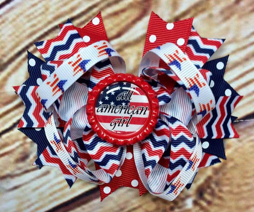 All American Girl Stacked Boutique Bow, Fourth of July Bow, 4th of July Hair Bow, Independence Day Hair Bow, Patriotic Hair Bow, American Flag Bow