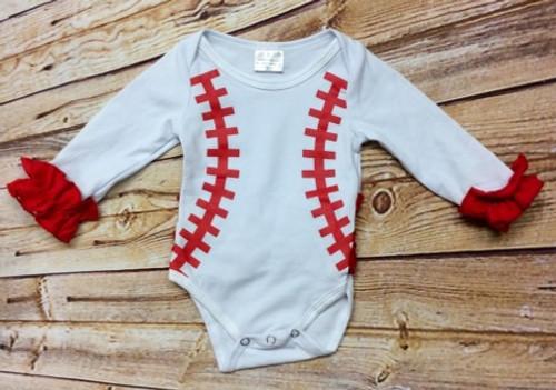 Girl's Ruffled Baseball Bodysuit, Baseball Little  Sister, Baby Baseball Shirt, Baseball Game Day Shirt
