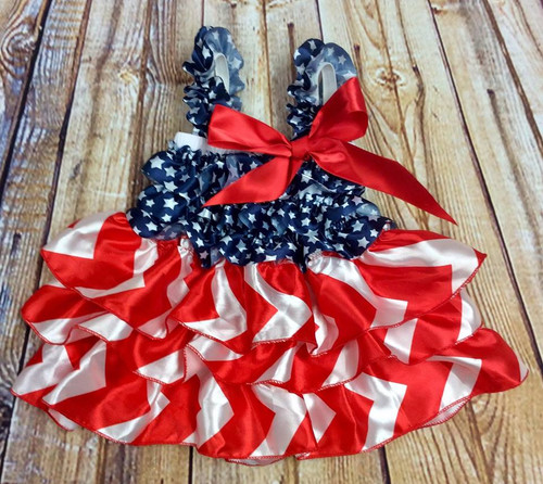 Infant Girl's Patriotic Petti Dress, Patriotic Romper, Patriotic Dress, Patriotic Pettidress, Fourth of July, Memorial Day, 4th of July, USA Dress, Girl's 4th of July outfit, Girl's Patriotic outfit