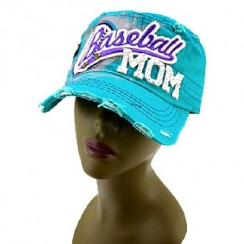 Women's Baseball Mom with Rhinestones Cap-Turquoise, Women's Baseball Cap, Baseball Mom Hat, Women's Hat, Proud Baseball Mom, Women's Trucker Cap