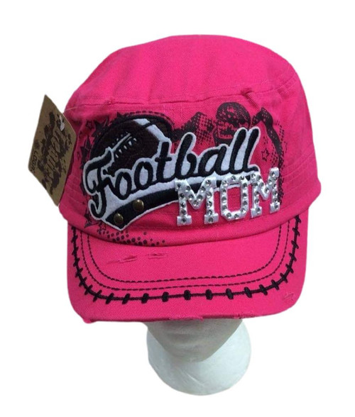 Football Mom with Rhinestones Baseball Cap Hat