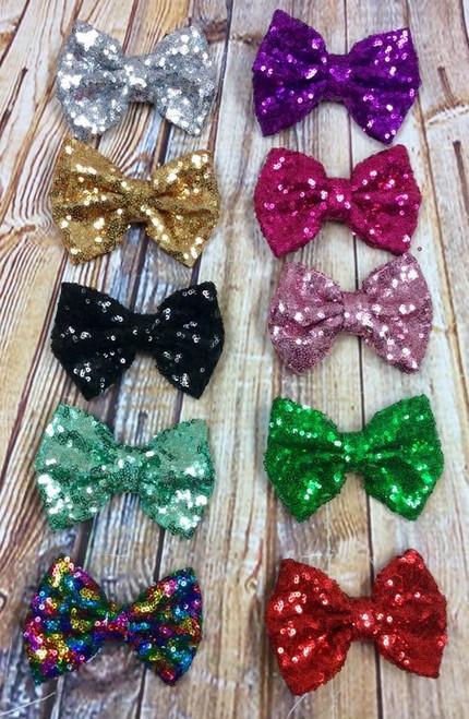 Sequin Hair Bows, Sparkly Hair Bows, Sparkle Hair Bows