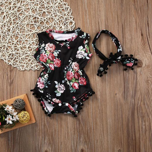 Girl's Black Floral Romper  2 Pc Set, Baby Rompers, Girl's Rompers