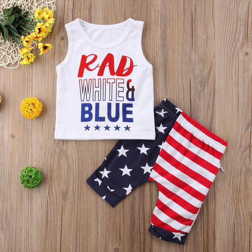 Boy's White, Blue, and Rad Patriotic 4th of July Outfit, Boy's Independence Day Outfit, Boy's 4th of July Outfit, Patriotic Boy's Outfit