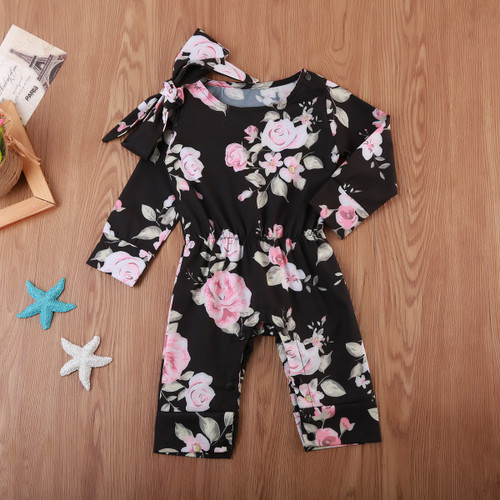 Baby Girl Black Floral Print Jumpsuit Romper, Baby Rompers, Baby Jumpsuits