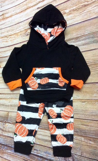 Girl's Halloween Fall Pumpkin Hoodie 2 Pc Set, Fall Boutique Outfit, Pumpkin Outfit