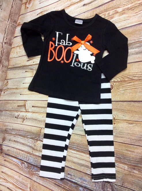 Girl's Boutique Halloween FaBOOlous 2 Piece Outfit, Girl's Halloween Outfit, Fall Outfit, Girl's Ghost Outfit, Faboolous
